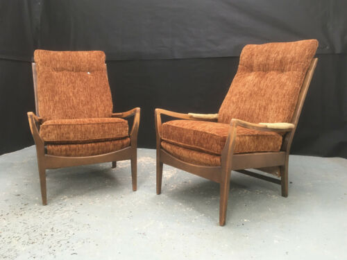 EB929 Pair of Cintique Stained Beech Arm Chairs Vintage Retro Lounge Seating