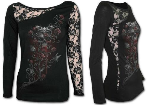 Goth Rock Biker Clothing SPIRAL DIRECT Womens Long Sleeve Lace One Shoulder Top