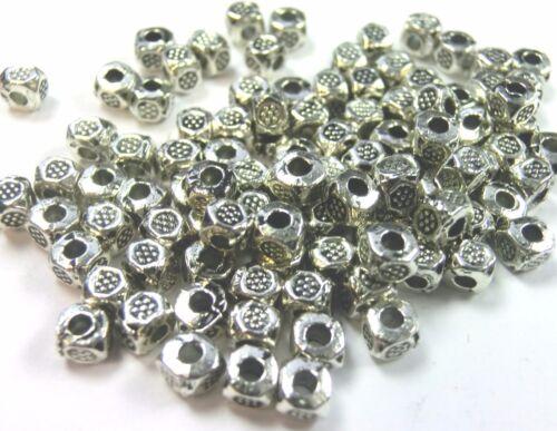 100 spacer entre perlas 3mm cubo cuadrado color Antik plata #s509