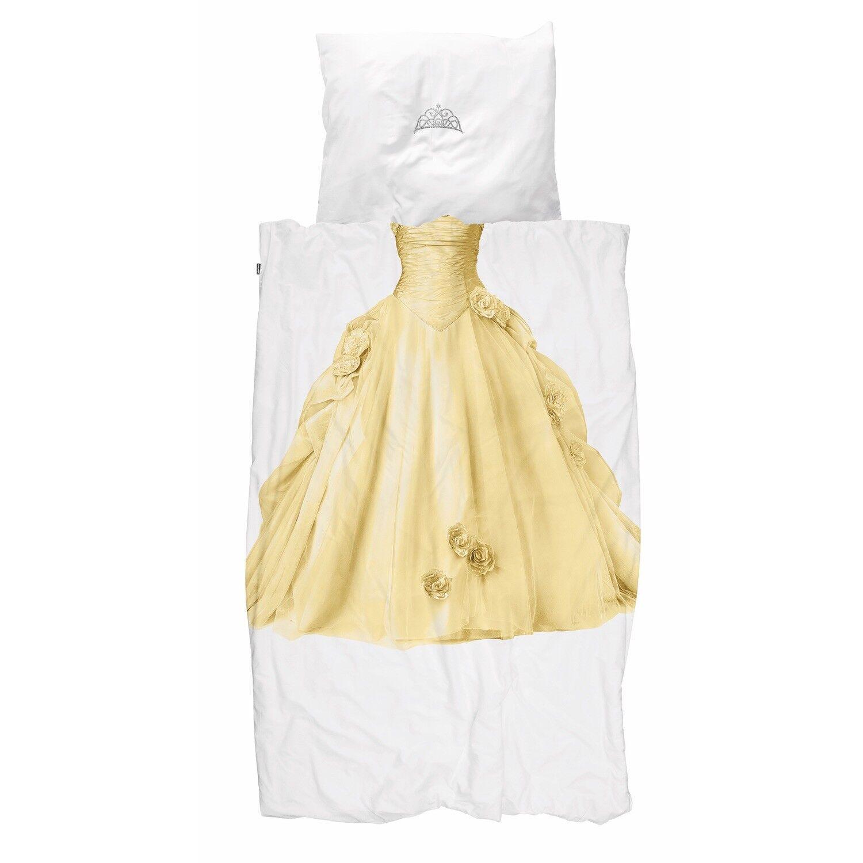 Snurk Bettwäsche Prinzessin Gold Kleid Königin Krone Cinderella Perkal
