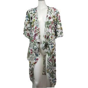 Nuovo-con-etichette-lularoe-Bianco-Verde-Rosa-Floreale-Aperto-Sul-davanti-Kimono-da-donna-taglia-S