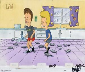 BEAVIS-amp-BUTT-HEAD-ORIGINAL-1990-S-PRODUCTION-CEL-ANIMATION-ART-CLEAN-HOUSE