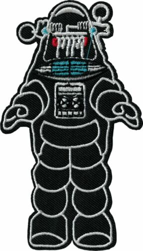 """Badge 19613 Black Standing Robby the Robot Forbidden Planet 4/"""" Iron On Patch"""