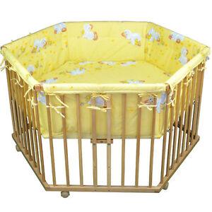 """Honey Bee"""" Parc bébé de luxe parc enfant 6 square parc de bebe jaune clair"""