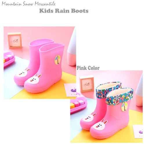 Kids Rain Boots W//Liner Waterproof Girls Boys Cartoon Pink Child Size 5