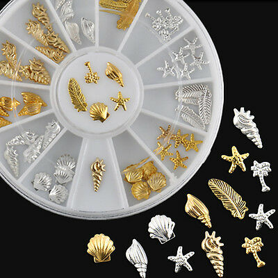 Ocean Life 3D Shell Conch Feather Starfish Gold Silver Metal Nail Art Decoration