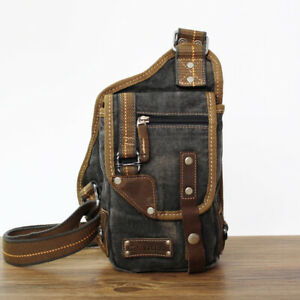 Mens-Retro-Canvas-Chest-Bag-Crossbody-Purse-Shoulder-Sling-Bag-Outdoor-Messenger