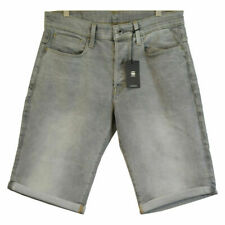 G-Star RAW Men's 3301 Straight Light Aged Grey Denim Shorts (Retail $120)