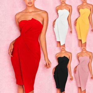 AU-Womens-Strapless-Off-Shoulder-Bodycon-Evening-Party-Cocktail-Club-Midi-Dress
