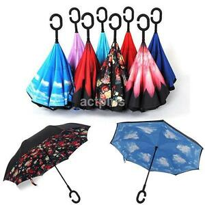 Portable New C-Handle Double Layer/Upside Down/Reverse Opening Umbrella ap