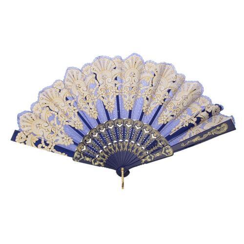 Ventilateur à main Fan Chinois Beauté Pliant Danse Mode Gothique Bleu sac