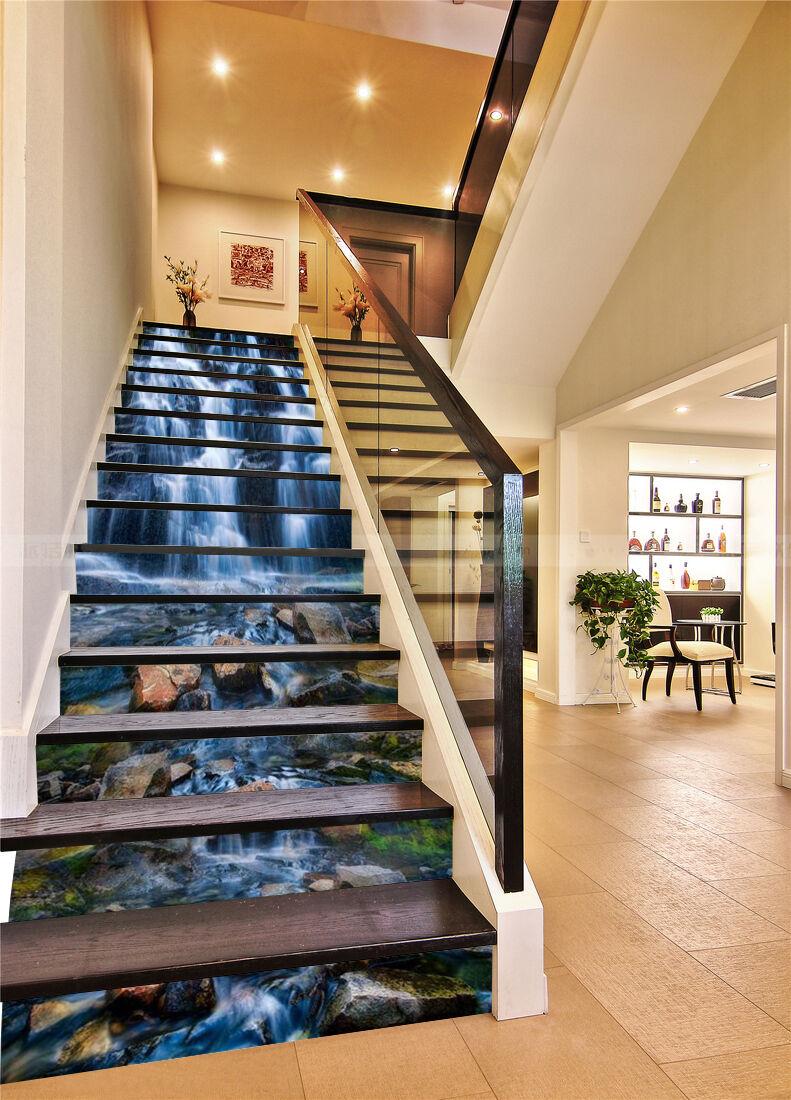 3D Stein Fluss 643 Stair Risers Dekoration Fototapete Vinyl Aufkleber Tapete DE