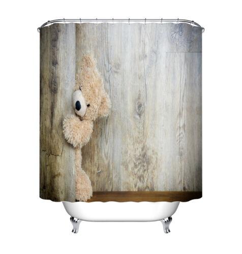 "Playful Teddy Bear Hide Door Waterproof Fabric Bath Shower Curtain Hooks 60//72/"""