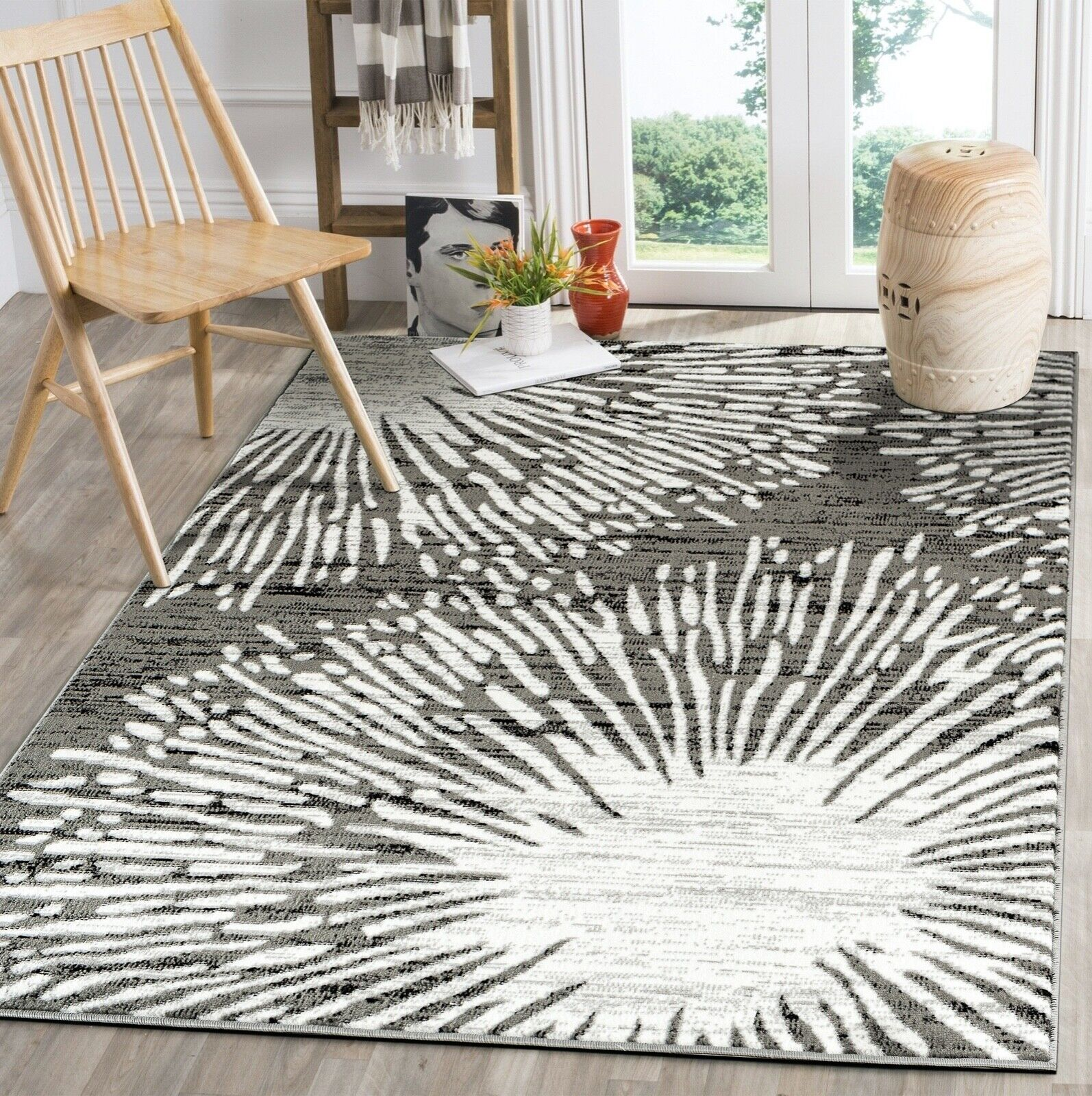Adonis Geometric Turquoise Black and Gray Area Rug 4x6 5x8 7x10 8x11 ANS1097