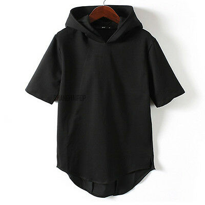 Men Hooded T-shirt Sweatshirt Tee Pullover Sleeveless Sports Hoodie Cotton Black