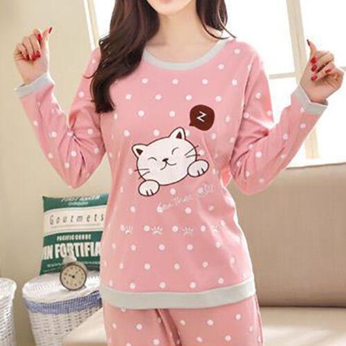 Women Pajamas Sleepwear Round Neck Girls Long Sleeve Soft Nightwear Tops+Pants