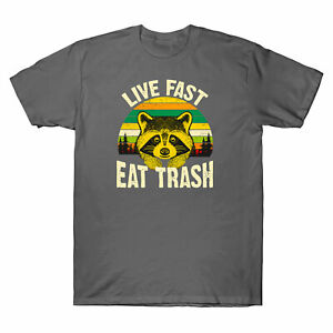 Raccoon-Live-Fast-Eat-Trash-Funny-T-shirt-Men-039-s-Short-Sleeve-Cotton-Tee-Gift