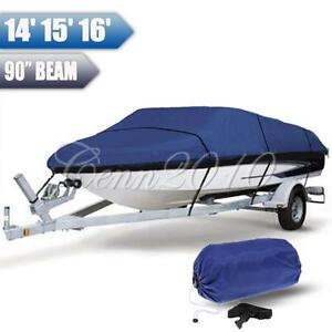 14-16ft-210D-Heavy-Duty-Waterproof-Trailerable-Boat-Cover-90-039-039-Beam-Width