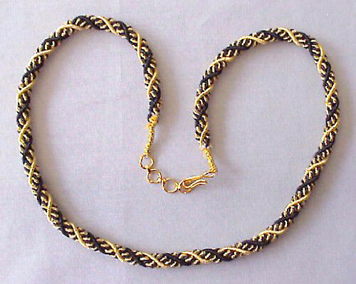 """Braided Bullion 18"""" Black /& Gold Rope Necklace Artisan Handcrafted Woven"""