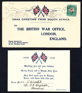 1939 1940 XMAS Greetings Cover and enclosed Card from South Africa to British