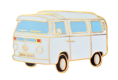 Classic VW Type 2 T2 Camper Van White Pin Badge