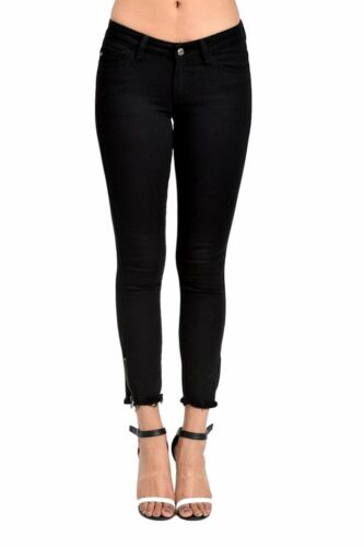 Kan Can Women/'s Low Rise Ankle Skinny Jeans Hem Detail KC6051BK