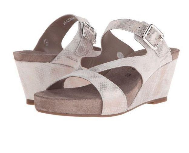 NIB    295 Mephisto BEATRIX Light Sand Wedge Sandal Heels scarpe donna 11 M 12321d