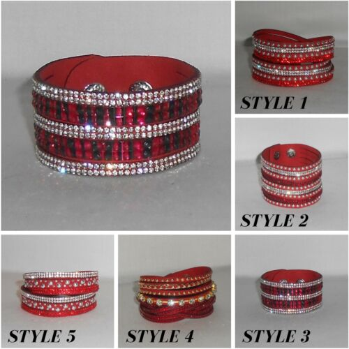 Bracelet,Cuff,Red,Crystals,Leather Style...Adjustable Bracelet //Choker