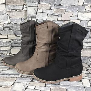 Details zu Damen Schlupfstiefel Stiefeletten Stiefel Boots Winter warm gefüttert NEU ST80