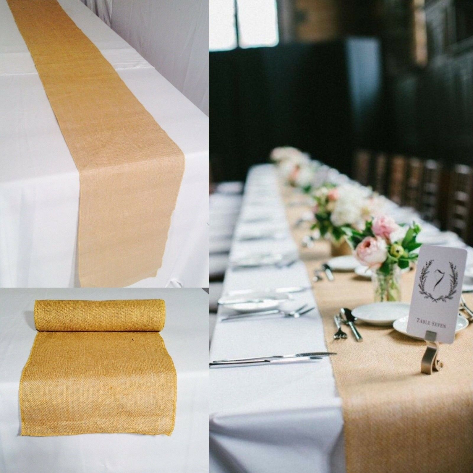 Lot de 20 Toile De Jute Table Runner 14  X 108  100% Jute Toile De Jute Table Décoration Mariage