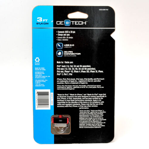 3/' iPhone iPAD New CE Tech USB to 30 Pin Charging and Sync Cable for iPOD