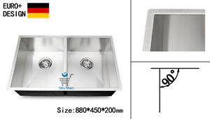 880mm-Kitchen-Sink-Square-Edge-Handmade-304-Stainless-Steel-Undermount-Topmount