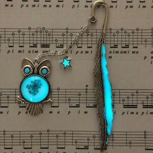 1X-Luminous-Night-Owl-Bookmark-Label-Read-Maker-Feather-Book-Mark-Stationery-GD