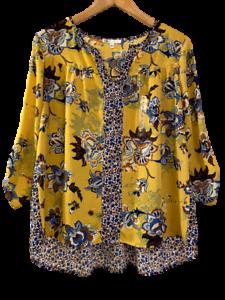 NEW-DR2-Daniel-Rainn-from-Stitch-Fix-Womens-Yellow-Blue-Floral-Tunic-Top-Small