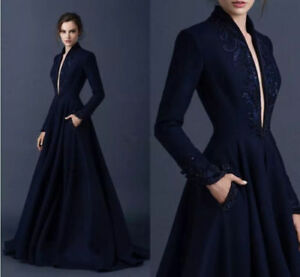 e242371607c Navy Blue Long Sleeve Evening Dresses Deep V Paolo Sebastian Prom ...
