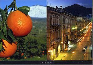 CARTOLINA-SICILIA-POSTCARD-SICILY-SICILIA-ARANCE-ETNA-E-VIA-DI-CATANIA