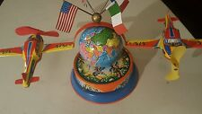 IA-Made in Germany tin globe with planes flying around mechanical toy Christmas