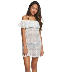 b876339561 Roxy White Surf Bride Off-The-Shoulder Crochet Dress Cover-Up Large ...