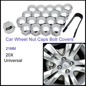 21MM-CHROME-CAR-WHEEL-NUT-BOLT-COVERS-CAPS-UNIVERSAL-FOR-ANY-CAR-NEW