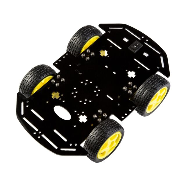 Smart 4WD Car Robot With Chassis And Kit (Black,NEW, USA, ARDUINO Controllable)