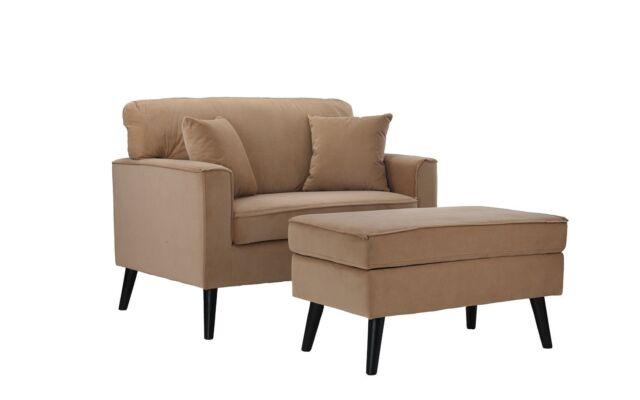 Awe Inspiring Modern Mid Century Large Living Room Accent Chair Ottoman Storage Brown Machost Co Dining Chair Design Ideas Machostcouk