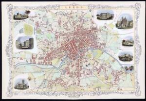 1851 RARE LARGE ORIGINAL ANTIQUE City Map of LEEDS Yorkshire