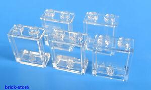 LEGO-1x2x2-Ventana-Vidrio-Transparente-Claro-5-piezas