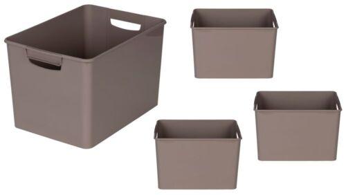 4 x Kunststoffbox Aufbewahrungsbox Lagerbox Regalbox Kiste Box Grau 26x38x24