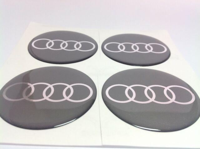 AUDI 4x69mm Grau Emblem Felgen Kappen Nabendeckel Nabenkappen Logo NEU