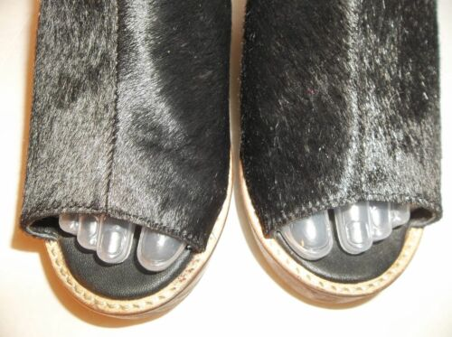 Ecote Wos ShoePony Hair Mules US7 Black Slides Urban Outfitters Wood Heel T3