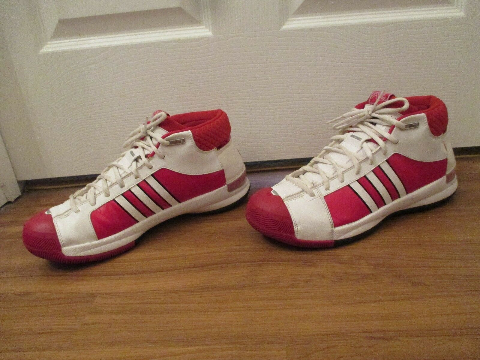 Used Worn Size 11.5 Adidas TS Pro Model Basketball Shoes White Red Black