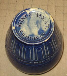"Vintage Antique ATMORE'S MINCE MEAT 6"" Tall Ceramic Pottery Blue Jar - Vase/Pot"