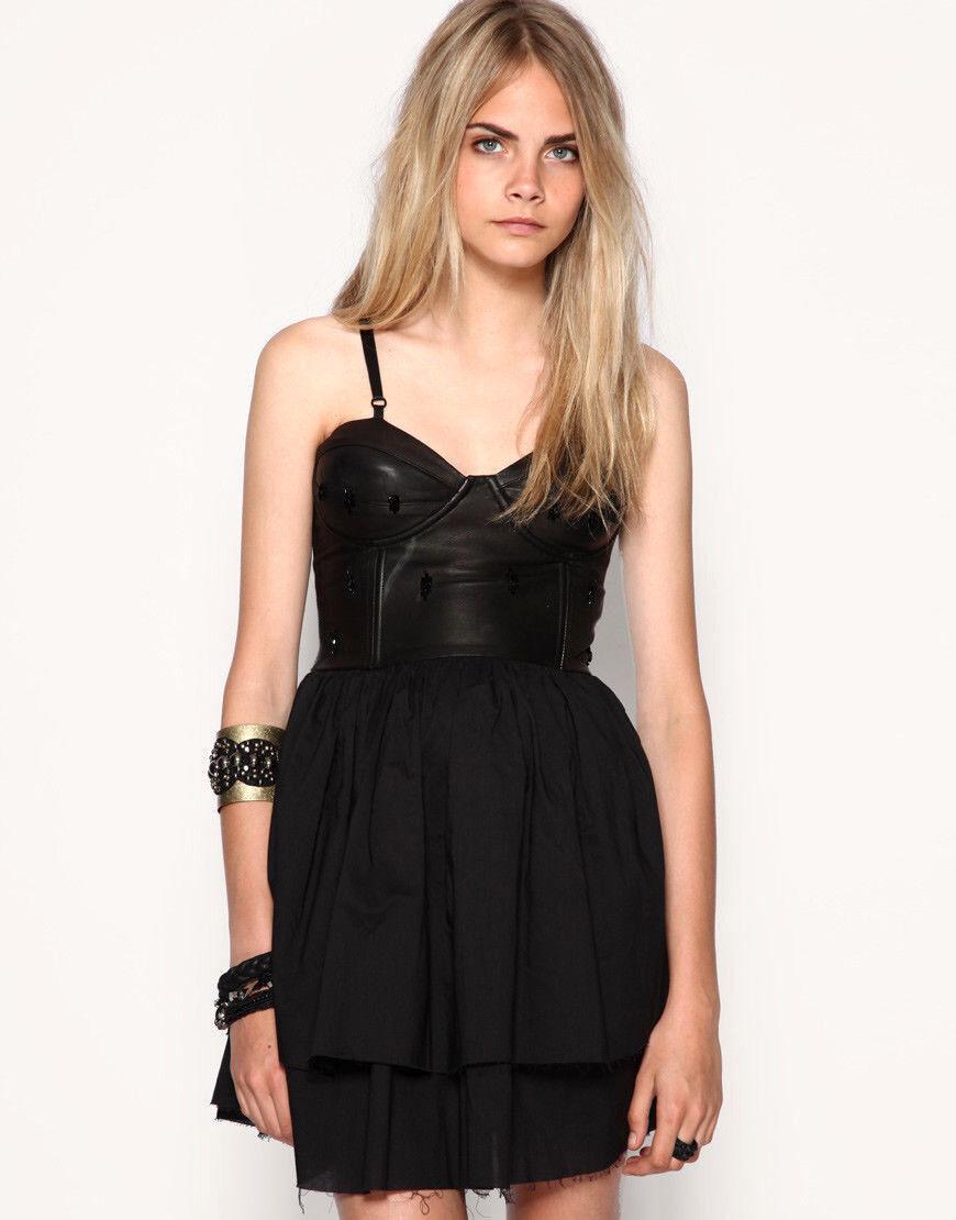 NWT  Designer One Teaspoon Embellished LEATHER Bodice DRESS 12