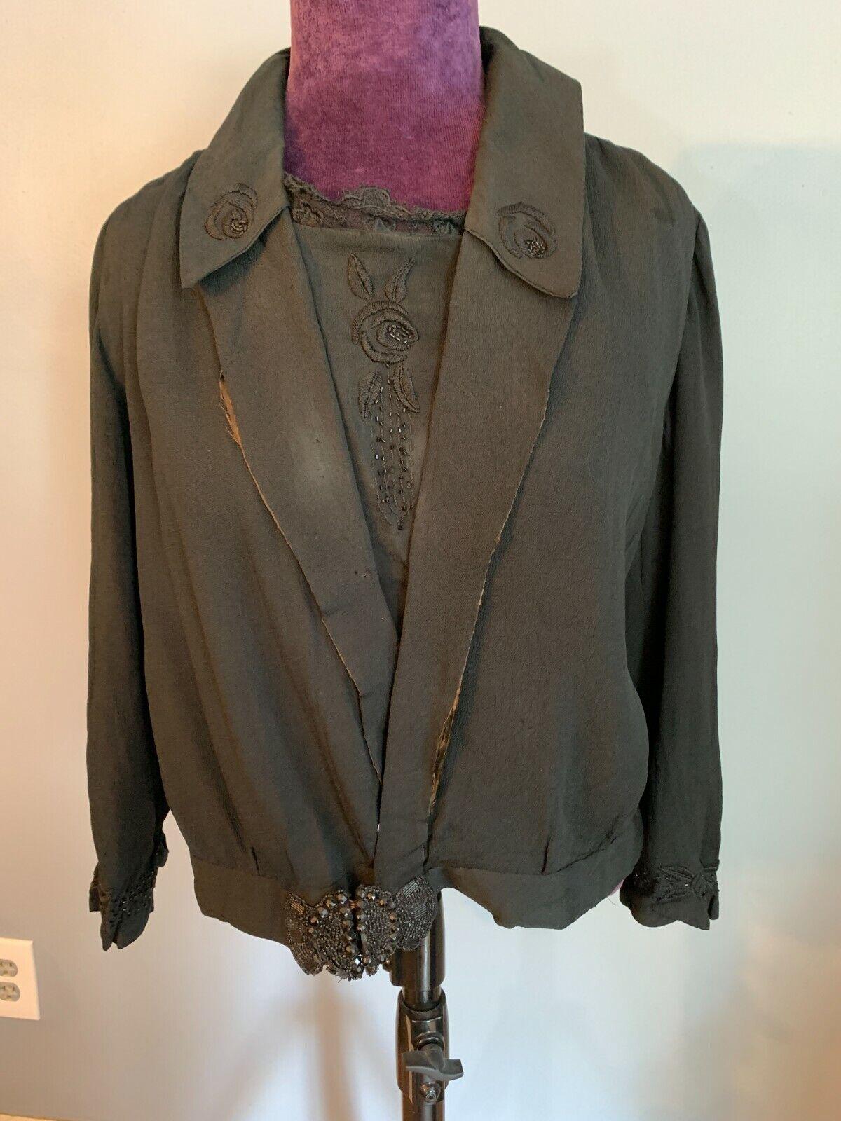 Antique Victorian Short Black Crepe early 1900s top shirt black